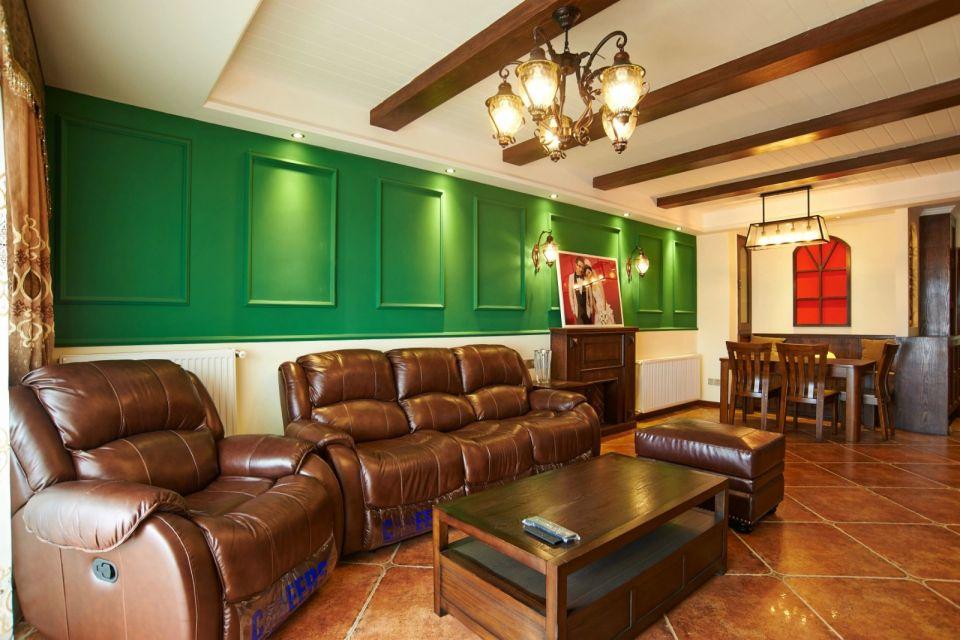 客厅咖啡色沙发美式风格效果图