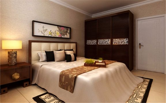 卧室地砖新中式风格装饰图片