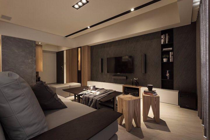 客厅灰色背景墙现代简约风格装饰图片