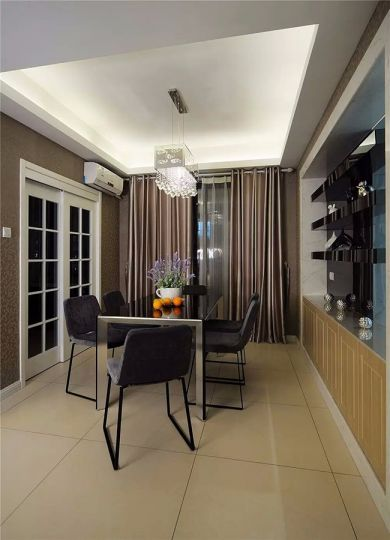 餐厅黑色餐桌简约风格装潢效果图