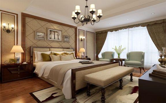 卧室咖啡色床头柜中式风格装潢图片