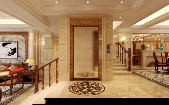 玄关黄色门厅中式风格装修设计图片