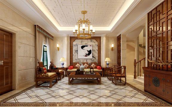 客厅咖啡色茶几中式风格装潢设计图片