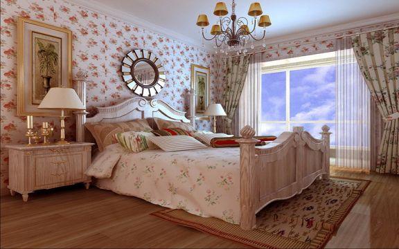 卧室粉色背景墙田园风格效果图