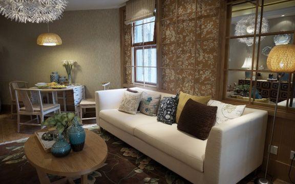 客厅白色沙发日式风格装饰设计图片