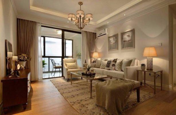 客厅落地窗美式风格装修设计图片