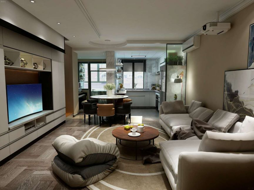 客厅米色沙发简约风格装修设计图片