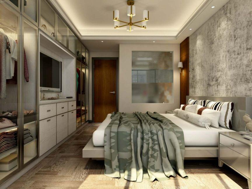 卧室米色床简约风格装饰设计图片