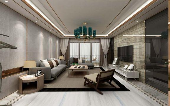 客厅米色吊顶现代简约风格装潢效果图