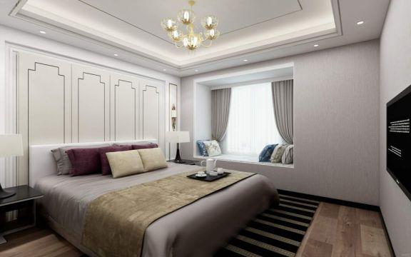 卧室米色床现代简约风格装修图片