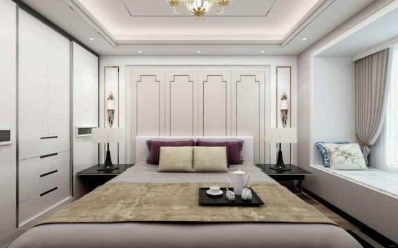 卧室白色床头柜现代简约风格装饰图片