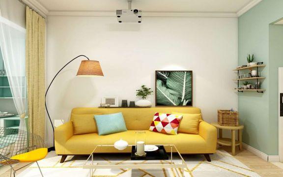 客厅黄色沙发北欧风格装修效果图