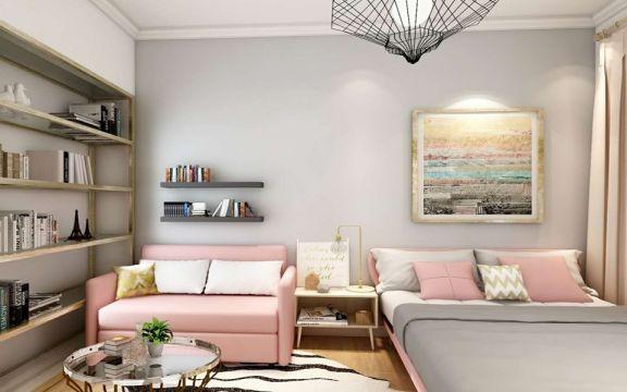 卧室粉色床北欧风格装潢效果图