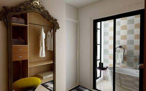 卫生间白色推拉门现代风格装潢图片