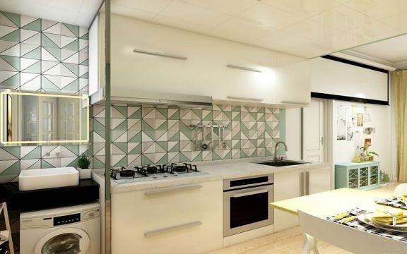 厨房彩色橱柜现代风格装修设计图片