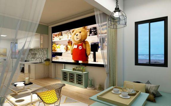 客厅绿色电视柜北欧风格装饰设计图片
