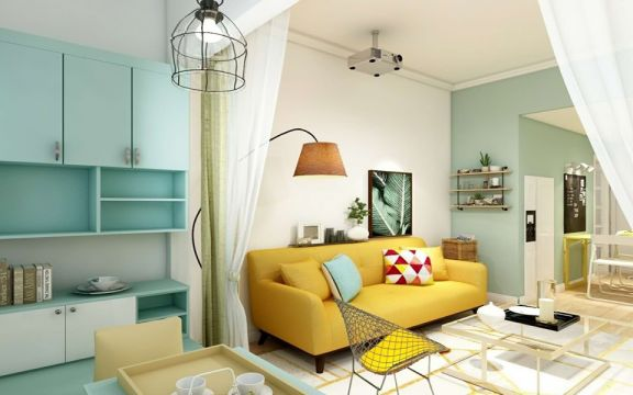 客厅黄色北欧风格装潢设计图片