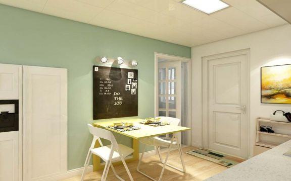 餐厅绿色餐桌现代风格装修效果图