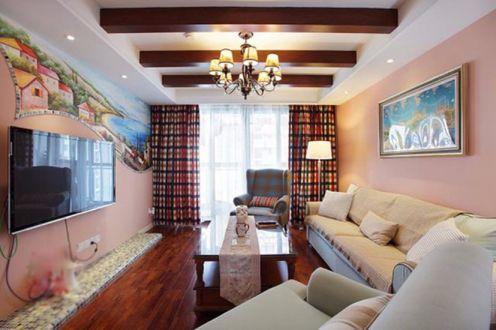 地中海风格97平米三室两厅新房装修效果图