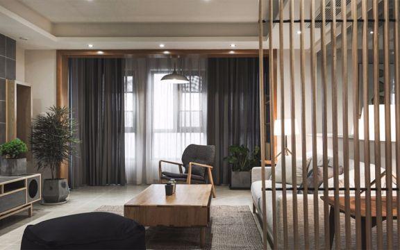 客厅黄色隔断现代简约风格装潢效果图