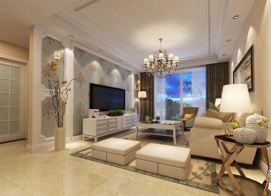 美式风格104平米三室两厅新房装修效果图