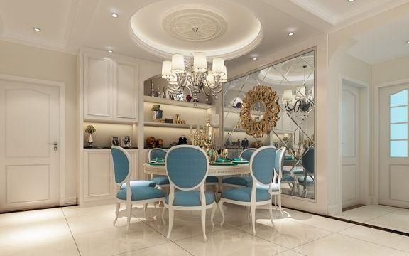 餐厅蓝色餐桌欧式风格装修设计图片