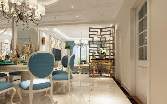 客厅黄色隔断欧式风格装饰设计图片