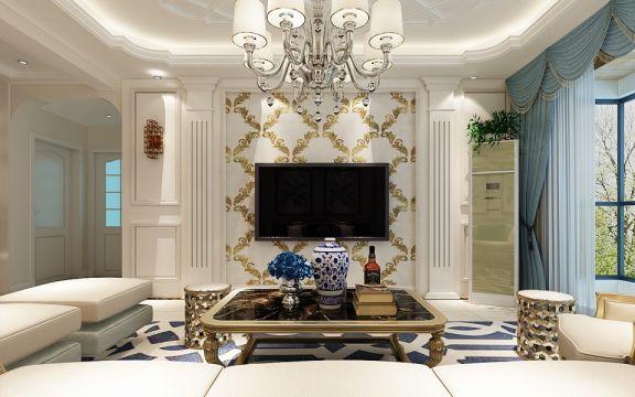 客厅黄色背景墙欧式风格装潢设计图片