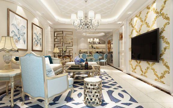 客厅蓝色地砖欧式风格效果图