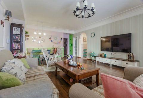 客厅白色电视柜美式风格装饰图片