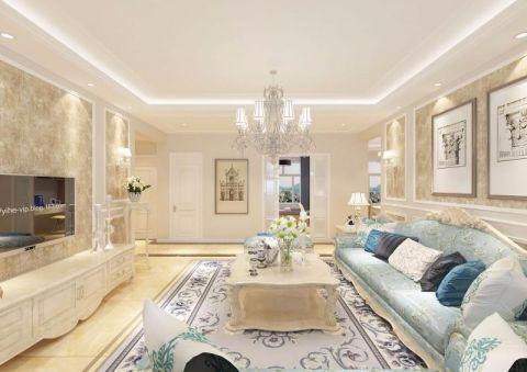 简欧风格127平米三室两厅新房装修效果图