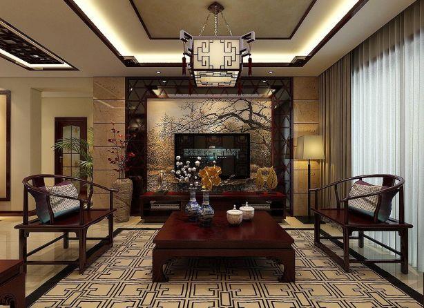 中式风格165平米大户型新房装修效果图