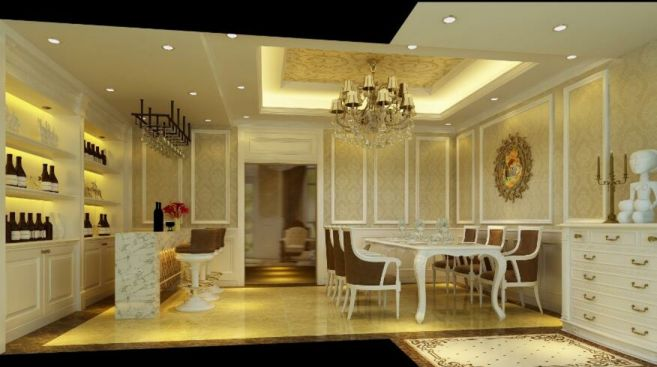 餐厅餐桌简欧风格装修效果图