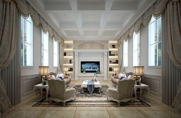 客厅白色茶几简欧风格装饰效果图
