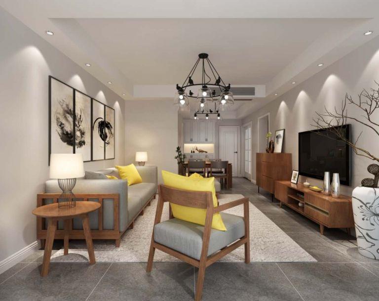 客厅米色吊顶欧式风格装潢图片