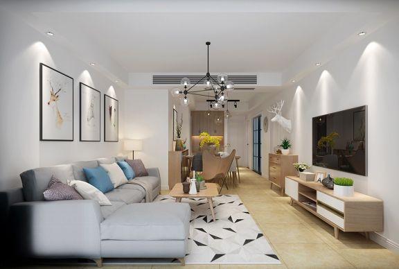 客厅白色背景墙北欧风格装修图片