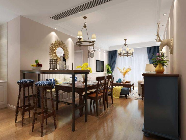 餐厅白色背景墙美式风格装饰设计图片