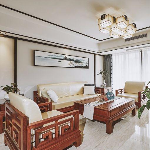 客厅米色沙发新中式风格装修设计图片