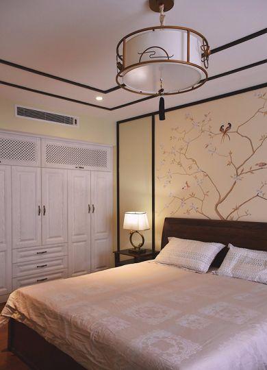 卧室米色背景墙新中式风格装饰设计图片