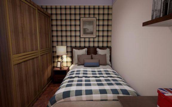卧室咖啡色衣柜美式风格装饰效果图