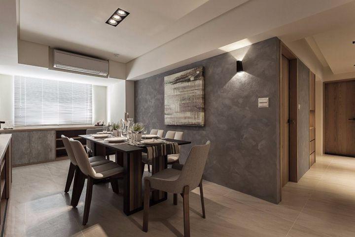 餐厅灰色背景墙现代简约风格装潢效果图