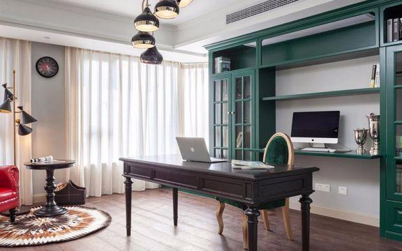 书房白色窗帘美式风格装饰效果图