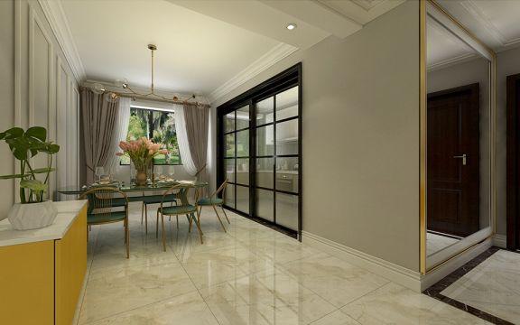 客厅隔断简欧风格装潢设计图片