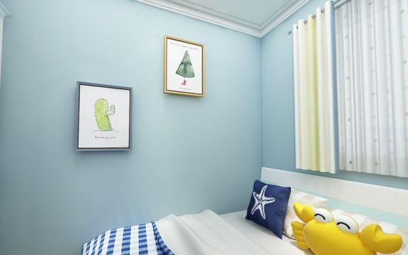 儿童房蓝色细节简约风格装潢图片