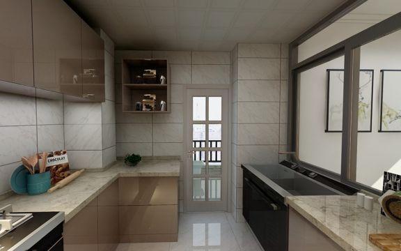 厨房黄色橱柜混搭风格装修设计图片