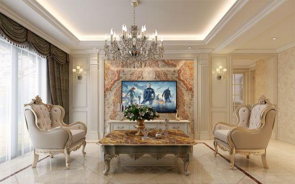 海亮红玺台110平米三室两厅一厨一卫简欧风格装修效果图