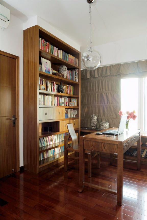 书房黄色书桌新中式风格装修效果图