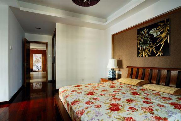 卧室咖啡色背景墙新中式风格效果图
