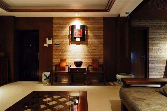 客厅咖啡色背景墙新中式风格装修图片