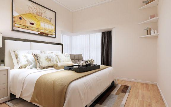 卧室灰色床简约风格装潢设计图片